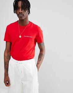 Обтягивающая футболка с логотипом Calvin Klein Jeans - Красный