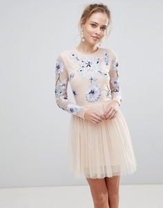 Платье мини из тюля с вышивкой ASOS - Розовый