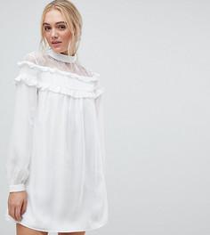 Платье с кружевной вставкой и оборками Fashion Union Tall - Белый