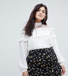 Блузка с высоким воротом и оборкой Fashion Union Plus - Белый