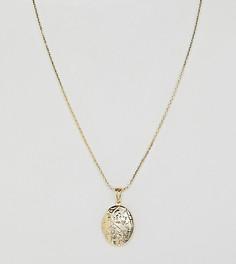 Позолоченное ожерелье с подвеской-медальоном Rock N Rose - Золотой