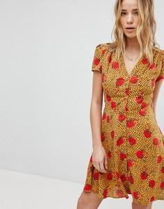 Чайное платье с леопардово-цветочным принтом Glamorous - Мульти