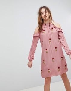 Платье-халтер с цветочной вышивкой Glamorous - Розовый
