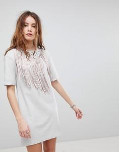 Платье-футболка с бахромой Glamorous - Белый