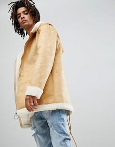 Коричневая oversize-куртка с искусственной цигейкой Sixth June - Рыжий