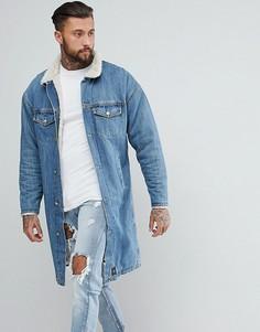Длинная джинсовая куртка на подкладке из искусственного меха Sixth June - Синий