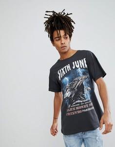 Черная oversize-футболка с принтом орла Sixth June - Черный