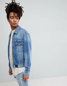 Синяя джинсовая куртка с потертостями Sixth June - Синий