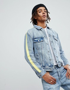 Синяя выбеленная джинсовая куртка с лентами Sixth June - Синий
