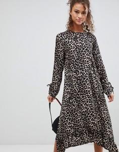 Платье миди с оборкой и леопардовым принтом ASOS - Мульти
