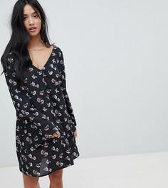 Свободное платье в горошек с цветочным принтом Glamorous Petite - Черный