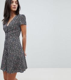 Чайное платье в горошек с цветочным принтом Glamorous Tall - Черный