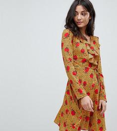 Чайное платье с запахом, оборками и принтом Glamorous Tall - Мульти