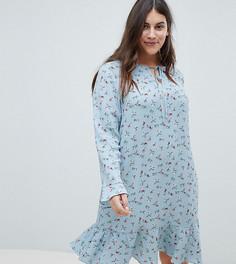 Свободное платье с расклешенными рукавами и цветочным принтом Glamorous Curve - Темно-синий