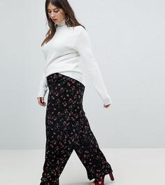 Брюки с широкими штанинами и цветочным принтом Glamorous Curve - Черный
