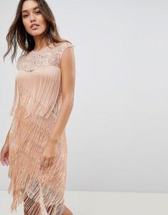 Платье миди с бахромой ASOS - Розовый