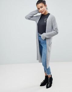 Длинный кардиган с рукавами в рубчик Fashion Union - Серый