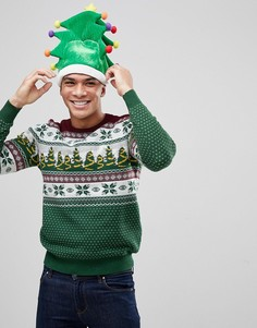 Зеленый новогодний джемпер со светящимися огоньками Burton Menswear - Зеленый