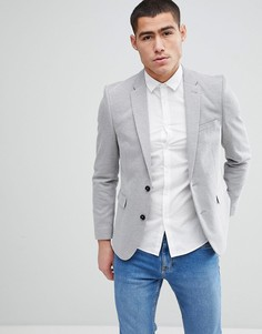 Серый облегающий блейзер Burton Menswear - Серый