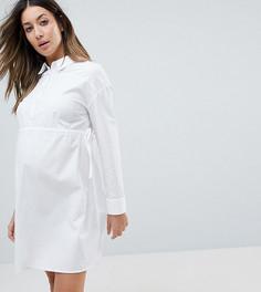 Хлопковое платье-рубашка со сборками ASOS Maternity - Белый
