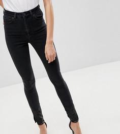 Выбеленные черные джинсы скинни с завышенной талией и отделкой из искусственной кожи ASOS TALL RIDLEY - Черный