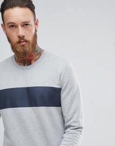 Свитшот со вставкой в полоску Selected Homme - Серый