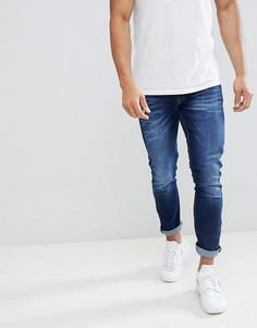Темно-синие выбеленные джинсы скинни River Island - Синий