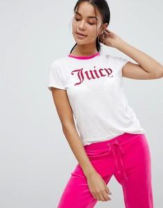 Футболка с контрастным вырезом и блестящим логотипом Juicy Couture Black Label - Белый