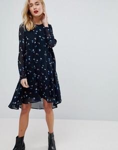 Платье миди с цветочным принтом Vero Moda - Темно-синий