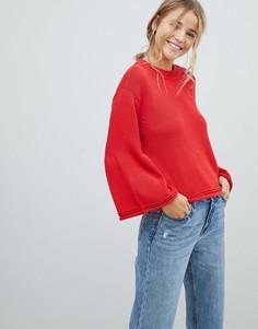 Трикотажный джемпер с расклешенными рукавами Only Sana - Красный