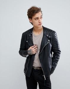Кожаная байкерская куртка AllSaints - Черный