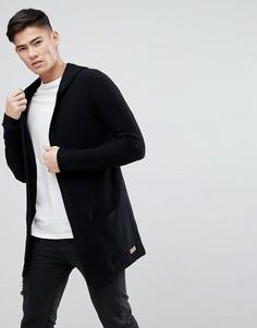 Длинный кардиган с капюшоном и добавлением шерсти Esprit - Черный