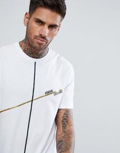 Белая футболка с полоской цвета металлик и логотипом Armani Exchange - Белый