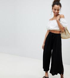 Укороченные брюки с затягивающимся шнурком ASOS PETITE - Черный