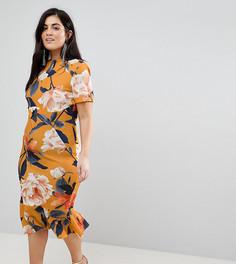 Платье-футболка миди с цветочным принтом ASOS CURVE - Мульти