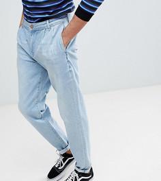 Голубые джинсы с плиссировкой ASOS TALL - Синий