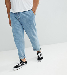 Синие выбеленные джинсы с двойными складками ASOS PLUS - Синий