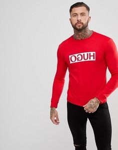 Красный свитшот с круглым вырезом и логотипом HUGO - Красный