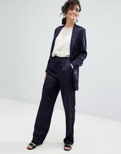 Мягкие жаккардовые брюки ASOS Tailored - Темно-синий