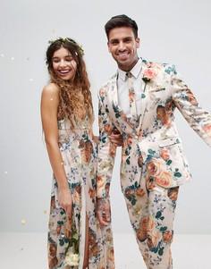 Супероблегающий пиджак с цветочным принтом ASOS Wedding - Кремовый