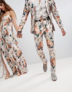 Супероблегающие брюки с цветочным принтом ASOS Wedding - Кремовый