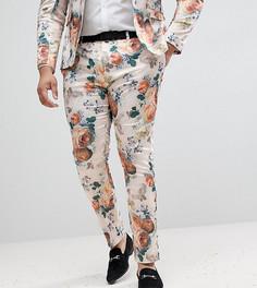 Супероблегающие брюки с цветочным принтом ASOS PLUS Wedding - Кремовый