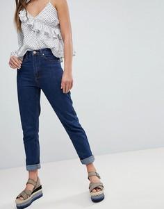 Джинсы в винтажном стиле с отворотами Boohoo - Темно-синий