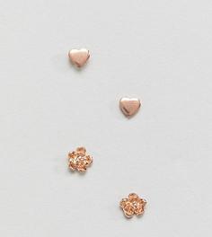 Набор серебряных позолоченных серег-гвоздиков ASOS - Медный
