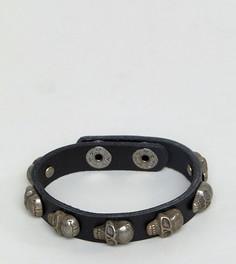 Черный кожаный браслет с черепом Reclaimed Vintage Inspired эксклюзивно для ASOS - Черный