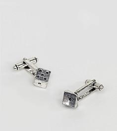 Серебристые запонки в виде игральных костей Reclaimed Vintage Inspired эксклюзивно для ASOS - Серебряный