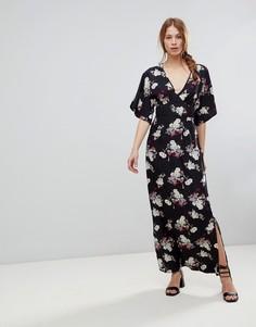 Платье макси с цветочным принтом и широкими рукавами Influence - Черный