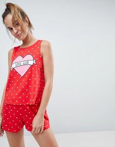 Пижама с майкой и шортами ASOS Love Club - Красный