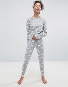 Пижамные лонгслив и леггинсы с принтом молнии ASOS - Серый