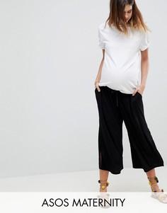 Укороченные брюки с посадкой под животом и завязкой ASOS MATERNITY - Черный